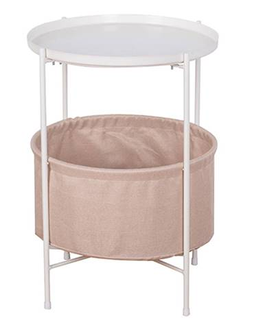 Príručný stolík s odnímateľnou táckou biela/hnedá FANDOR