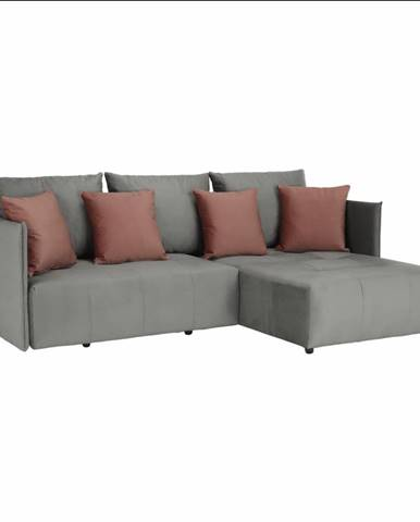 Univerzálna sedacia súprava sivá/staroružová LENY ROH