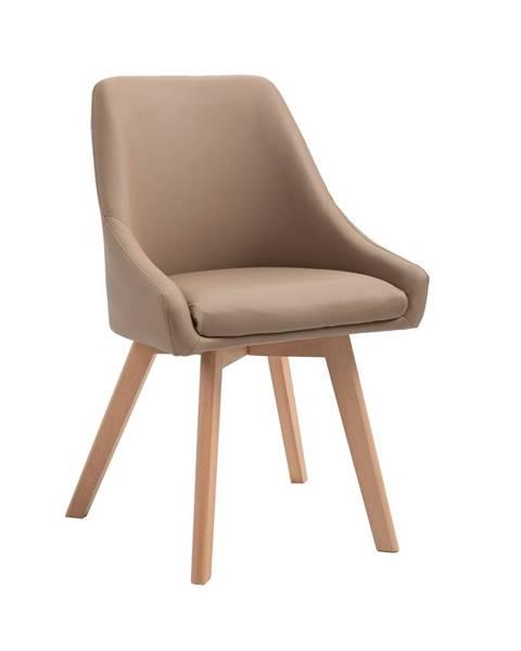 Tempo Kondela Jedálenská stolička béžová ekokoža/buk TEZA poškodený tovar