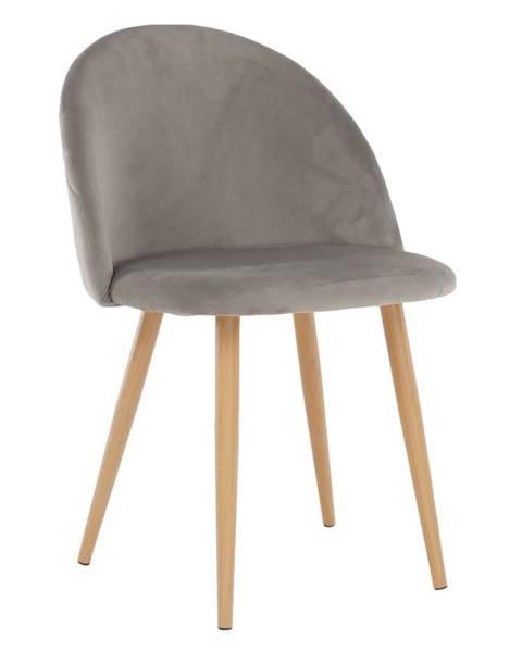 Kondela Jedálenská stolička svetlosivá Velvet látka FLUFFY poškodený tovar