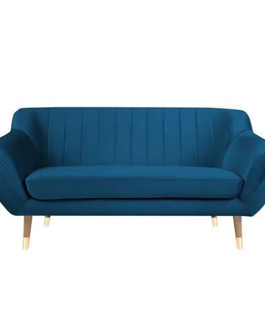 Modrá zamatová pohovka Mazzini Sofas Benito, 158 cm