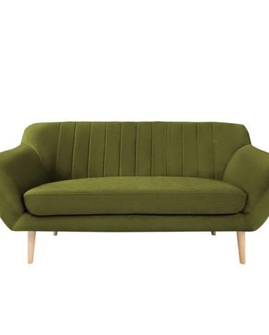 Zelená zamatová pohovka Mazzini Sofas Sardaigne, 158 cm
