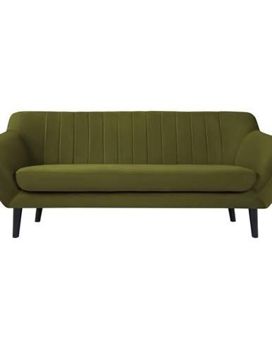 Zelená zamatová pohovka Mazzini Sofas Toscane, 188 cm