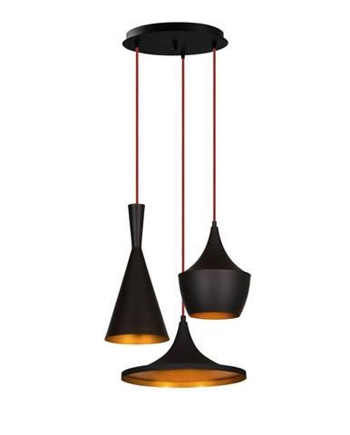 Čierne závesné svietidlo pre 3 žiarovky Opviq lights Elmas