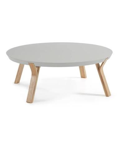 Svetlosivý konferenčný stolík s nohami z jaseňového dreva La Forma Solid, Ø 90cm