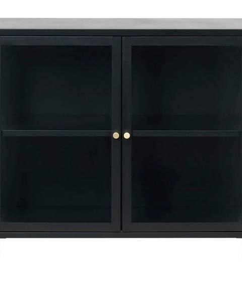 Unique Furniture Čierna komoda s presklenými dverami Unique Furniture Carmel, dĺžka 90 cm