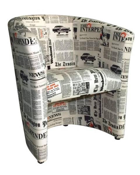 Kondela Klubové kreslo látka vzor noviny CUBA
