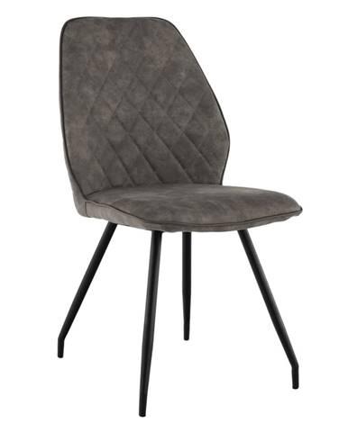 Jedálenská stolička sivohnedá látka s efektom brúsenej kože HERDA
