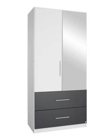 Šatníková skriňa AUBREE alpská biela/sivá, 2-dverová s 1 zrkadlom