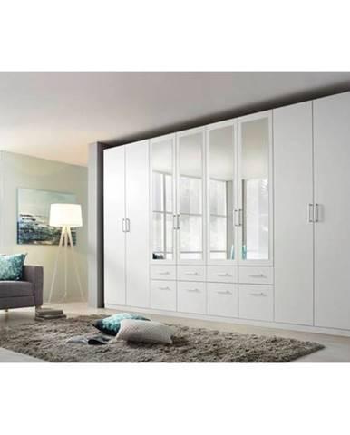 Šatníková skriňa BAYLEE alpská biela, 8-dverová so 4 zrkadlami