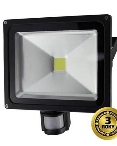 LED reflektor Solight 30W, studená bílá, 2100lm, se senzorem čierny