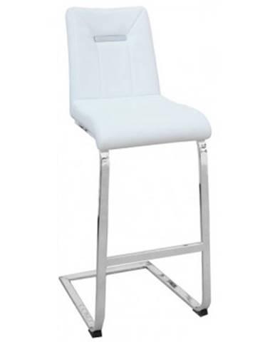 Barová stolička Flex, biela ekokoža%