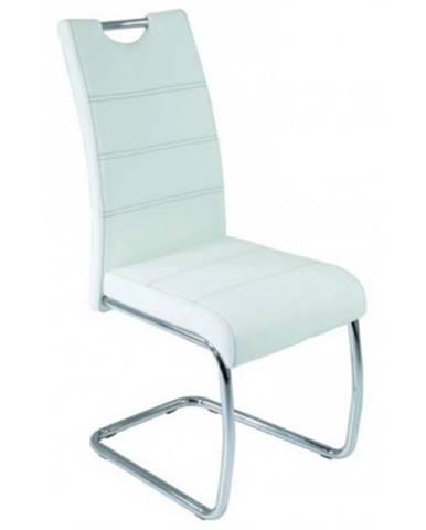 Jedálenská stolička Flora, biela ekokoža%