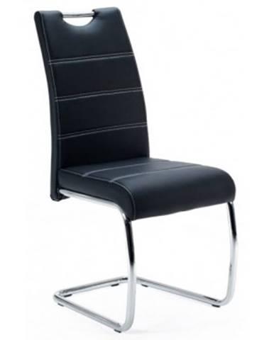 Jedálenská stolička Flora, černá ekokoža%