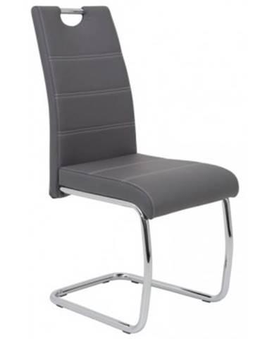 Jedálenská stolička Flora, šedá ekokoža%