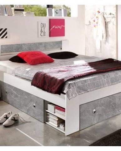 Posteľ s nočnými stolíkmi Stefan 140x200 cm, šedý beton/biela%