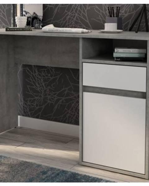 ASKO - NÁBYTOK Písací stôl so zásuvkou Carlos, šedý beton/biela%