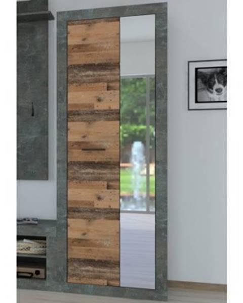 ASKO - NÁBYTOK Predsieňová skriňa Askon 48, tmavý betón / vintage optika dreva%