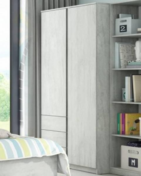 ASKO - NÁBYTOK Šatníková skriňa Carlos, šedý beton, 100 cm%