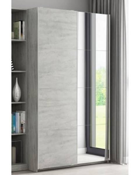 ASKO - NÁBYTOK Šatníková skriňa Carlos, šedý betón, 150 cm, posuvné dvere%