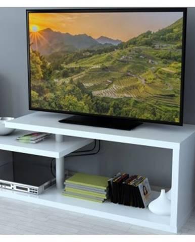 Konferenčný stolík/TV stolík/regál AS-54, biely%