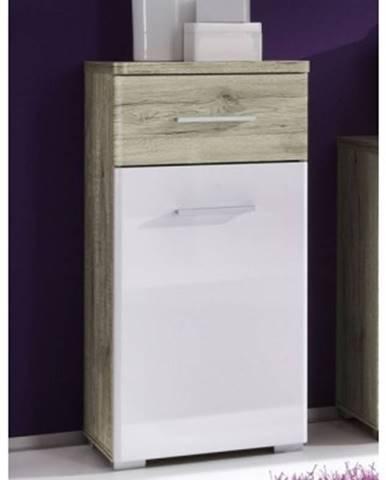 Kúpeľňová bočné skrinka Barolo, dub san remo/lesklá biela%