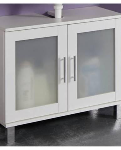 Kúpeľňová skrinka pod umývadlo Orlando, biela / satinované sklo%