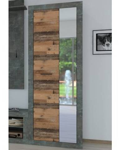 Predsieňová skriňa Askon 48, tmavý betón / vintage optika dreva%