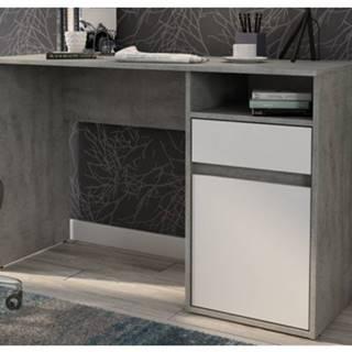 Písací stôl so zásuvkou Carlos, šedý beton/biela%