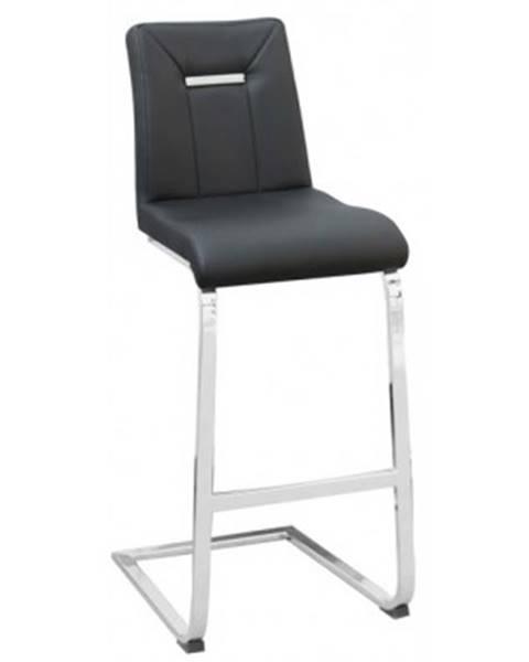 ASKO - NÁBYTOK Barová stolička Flex, čierna ekokoža%