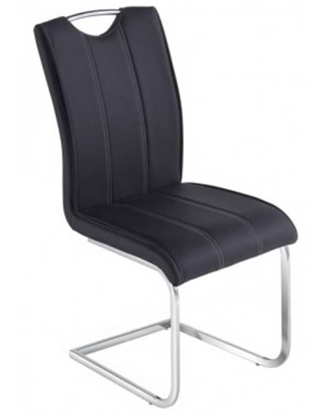 ASKO - NÁBYTOK Jedálenská stolička Elza,čierna ekokoža%