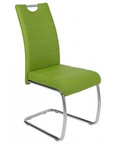 Jedálenská stolička Flora, zelená ekokoža%
