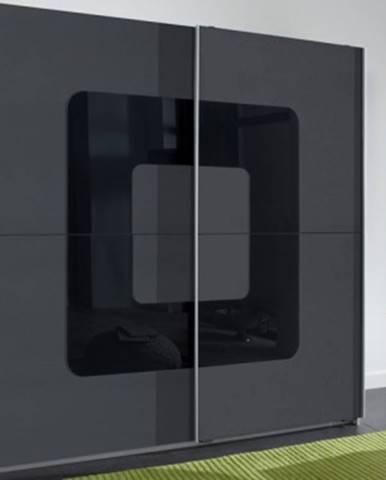 Šatníková skriňa Curve, šedá/čierne sklo%
