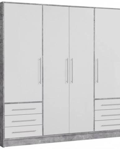 Šatníková skriňa Jupiter, 207 cm, sivý betón/biela%
