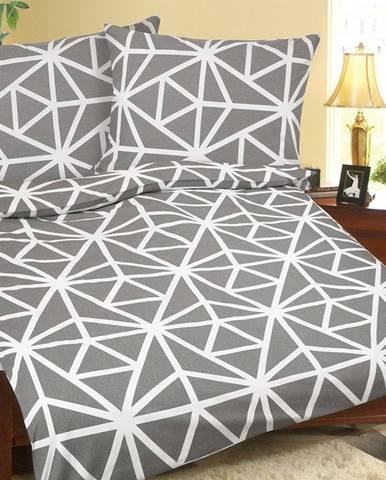 Bellatex Krepové obliečky Geometria sivo-biela, 140 x 200 cm, 70 x 90 cm