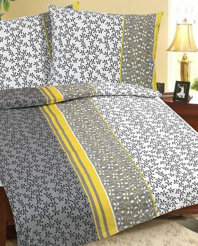 Bellatex Bavlnené obliečky Kvetinka sivá