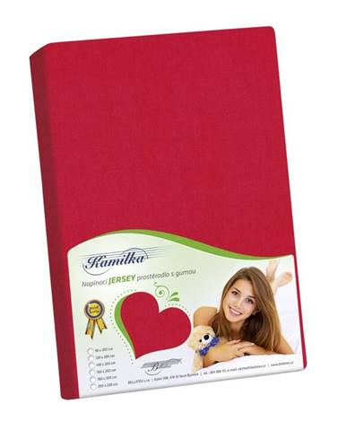 Bellatex jersey prestieradlo Kamilka červená, 90 x 200 cm
