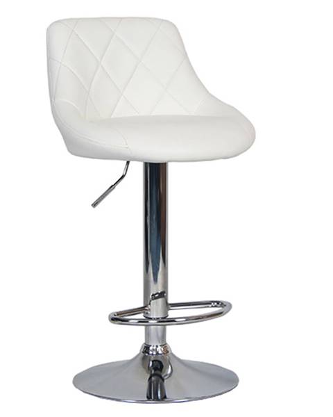 Tempo Kondela Barová stolička biela ekokoža/chrómová MARID