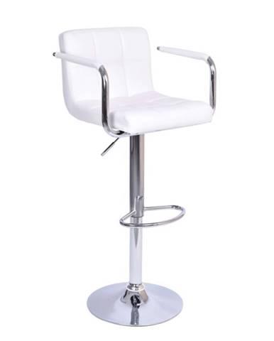 Barová stolička biela ekokoža/chróm LEORA 2 NEW