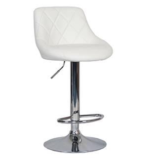 Barová stolička biela ekokoža/chrómová MARID