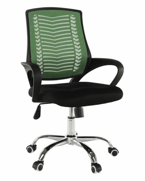 Tempo Kondela Kancelárske kreslo zelená/čierna/chróm IMELA TYP 2 poškodený tovar