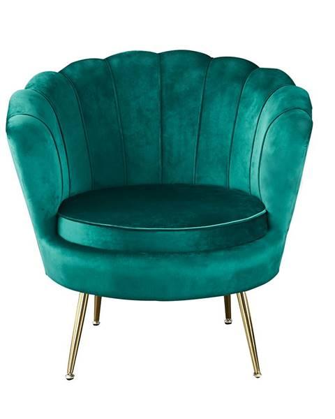 Kondela Kreslo v štýle Art-deco smaragdová Velvet látka/gold chróm-zlatý NOBLIN