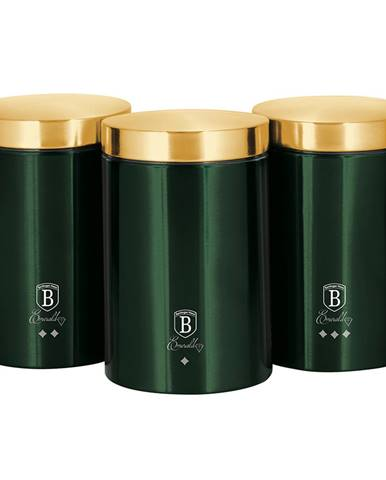 Sada dóz na potraviny 3ks metalická zelená Emerald BERLINGERHAUS BH-6272