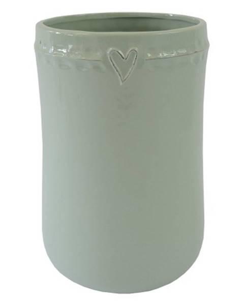OKAY nábytok Keramická váza VK48 mätová so srdiečkom