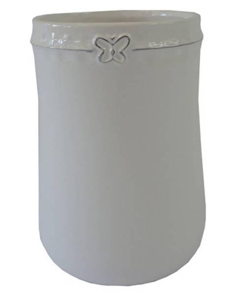 OKAY nábytok Keramická váza VK51 biela s motýlikom