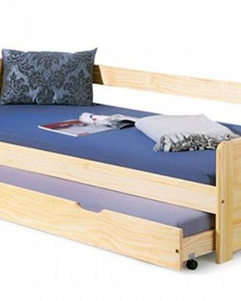 OKAY nábytok Posteľ Lucie 90x200, borovica, vrátane roštu, bez matracov