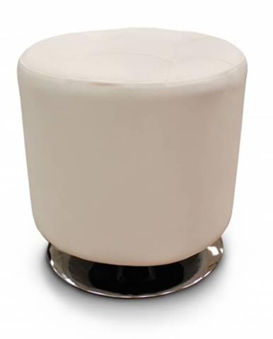 Kožená taburetka Dora kruh biela