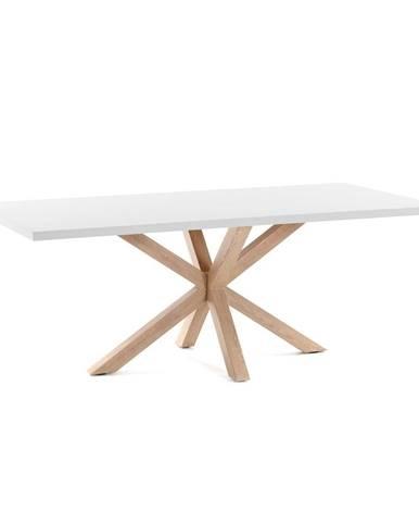 Biely jedálenský stôl s prírodným podnožím La Forma Arya, 160 x 100 cm