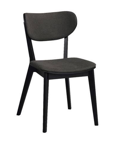 Čierna dubová jedálenská stolička s tmavosivým sedadlom Rowico Cato