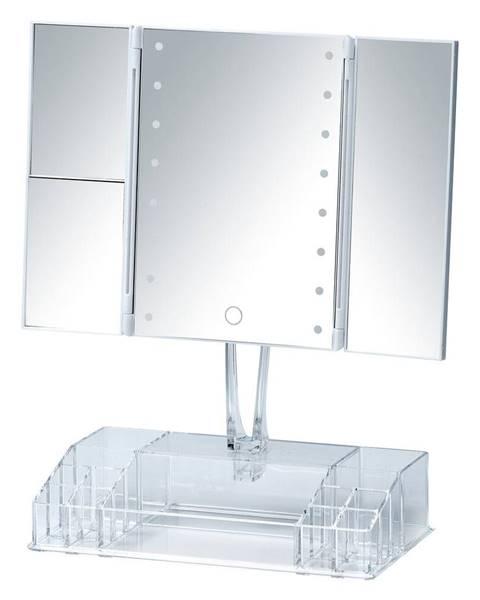 Wenko Biele rozkladacie kozmetické zrkadlo s LED podsvietením a organizérom na make-up Fanano